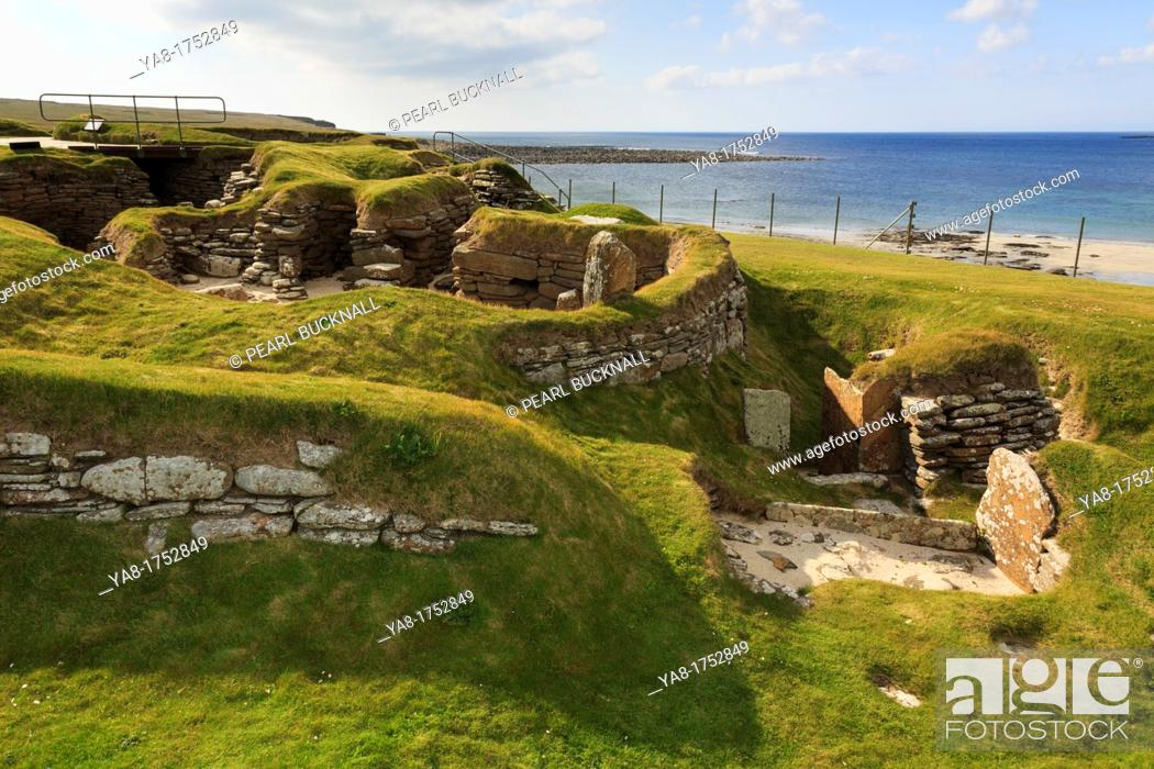 Stock Photo: Bay of Skaill, Sandwick, Orkney Mainland, Scotland, UK, Great Britain, Europe  Excavations of prehistoric houses in Neolithic stone-age village at Skara Brae.