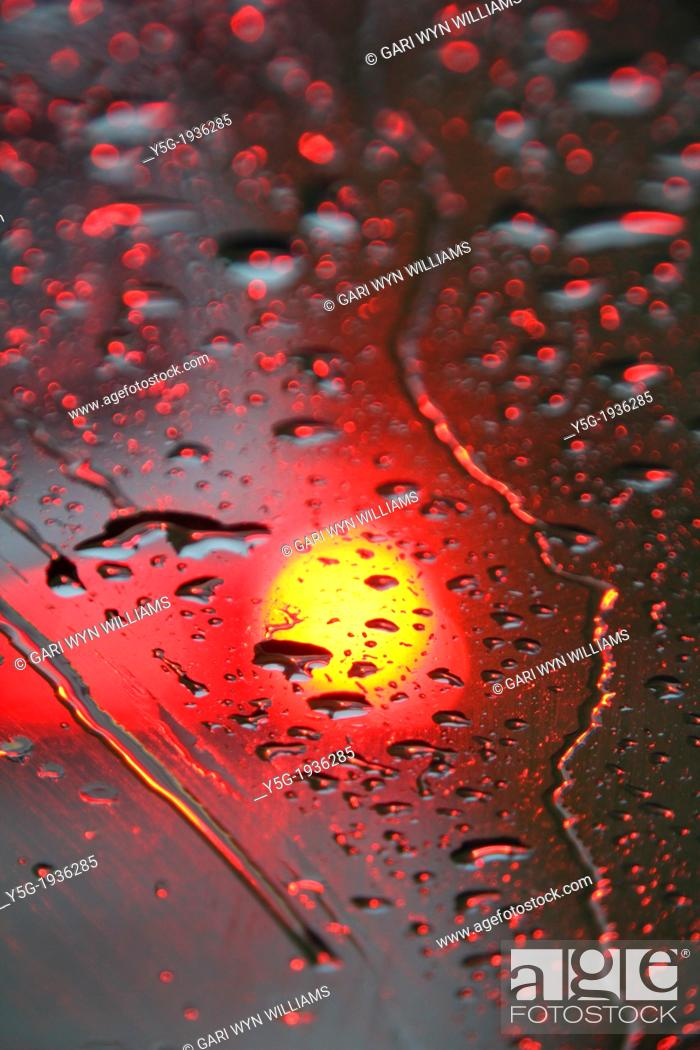 Car Lights In Rain At Night Stock Photo Picture And Rights Managed