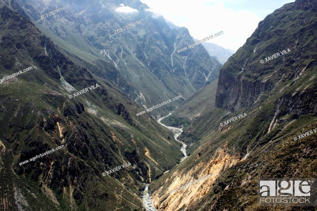 Stock Photo: Valley and Colca river during the hiking in Colca Canyon, Peru.