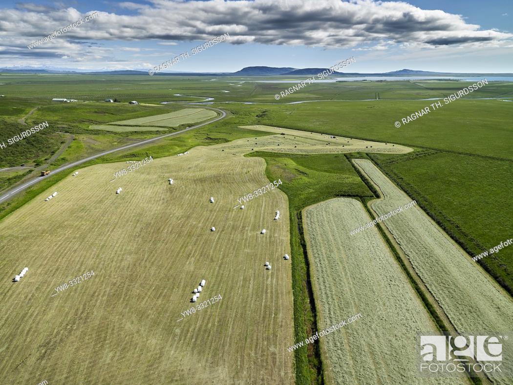 Stock Photo: Aerial farmland, Laugardalur, Iceland.