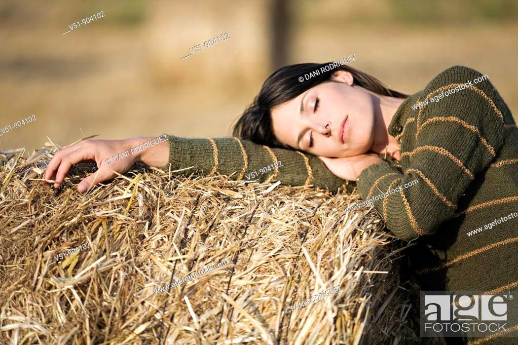 Stock Photo: Woman, countryside, wheat, health, young adult.