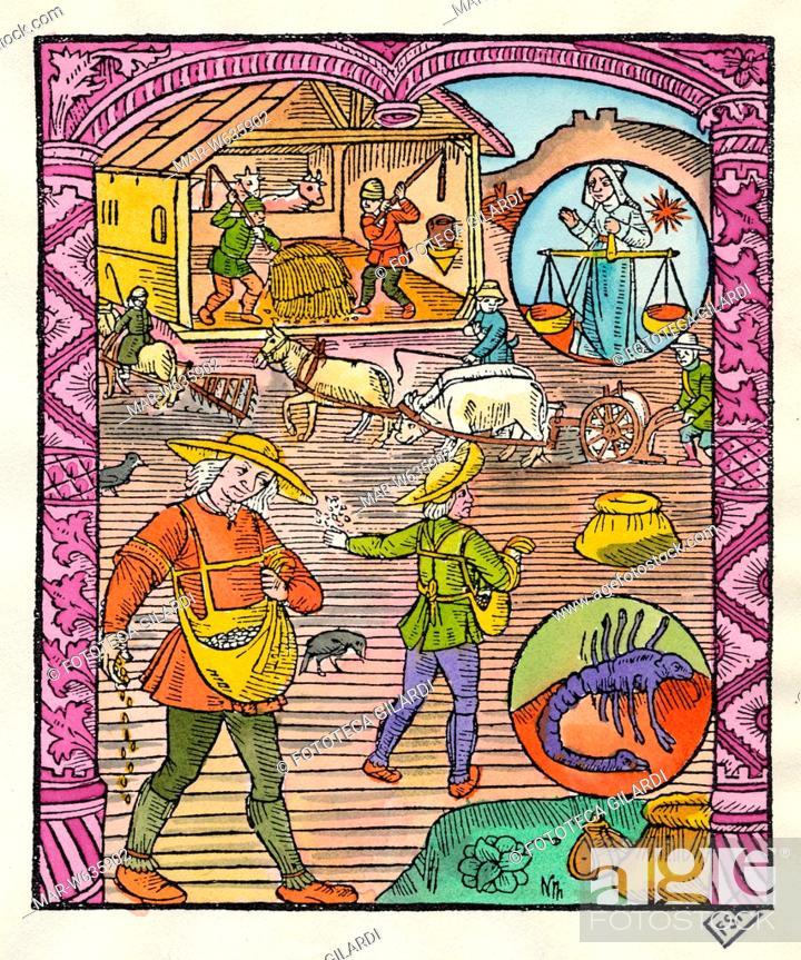 Calendario Zodiaco.Calendario Ottobre Sulla Destra La Raffigurazione Dei