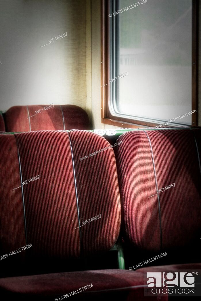 Stock Photo: Empty seats in old retro railway carriage. Vintage transportation.
