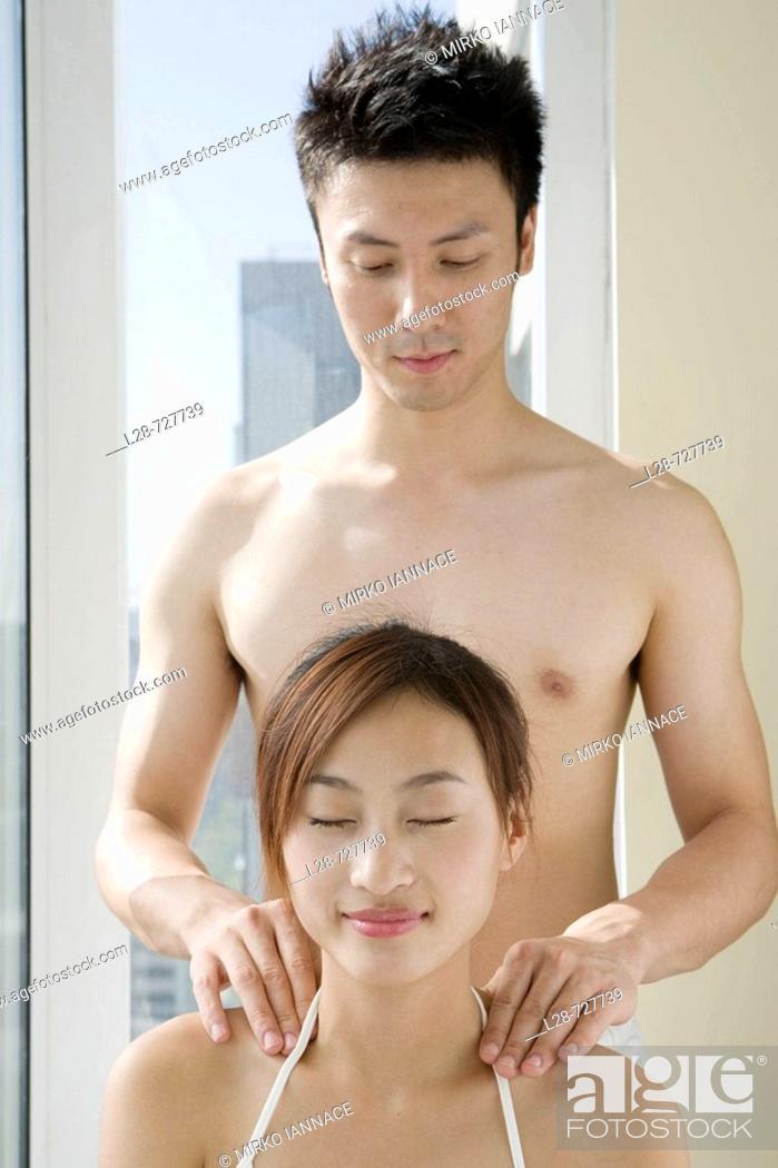 Stock Photo: Young Couple massage.