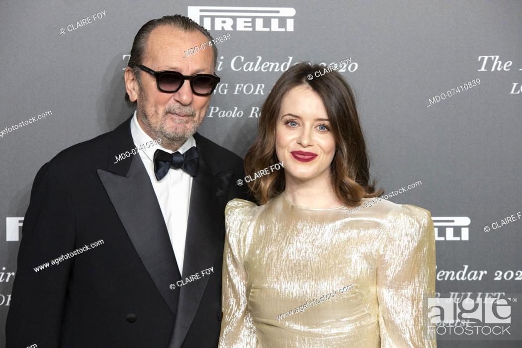 Stock Photo: Italian photographer Paolo Roversi and British actress Claire Foy during the presentation of the Pirelli 2020 Calendar at the Verona Philharmonic Theater.