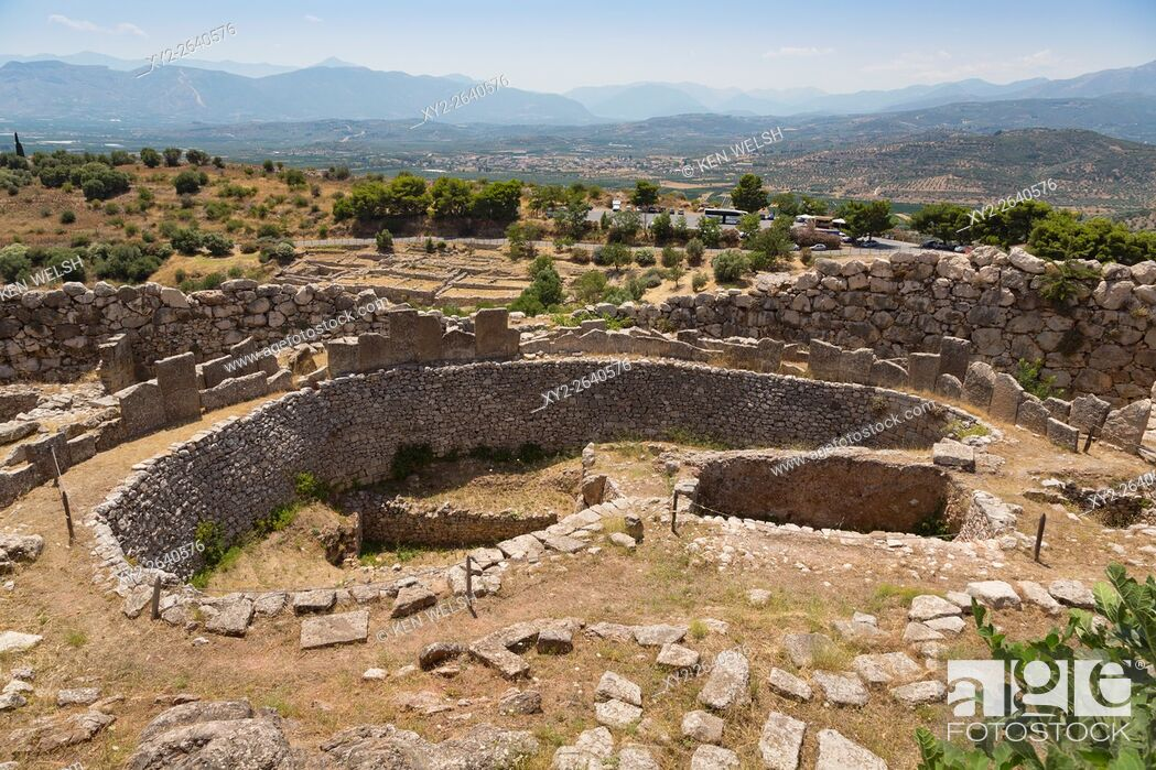 Stock Photo: Mycenae, Argolis, Peloponnese, Greece. Grave Circle A, dating from the 16th century BC, within the walls of the city citadel.