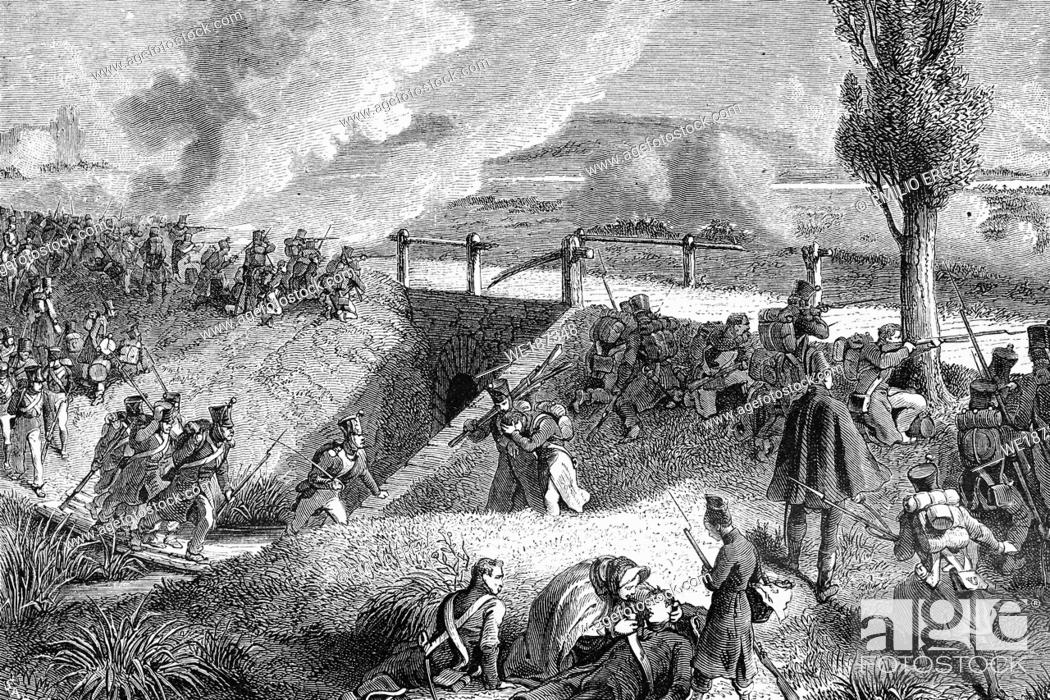 Stock Photo: Battle of Wartenburg. 3rd October 1813. Antique illustration. 1890.