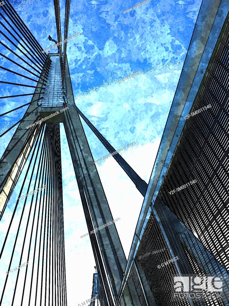 Stock Photo: blue, sketch-style image of Anzac Bridge cables and supports, Sydney.