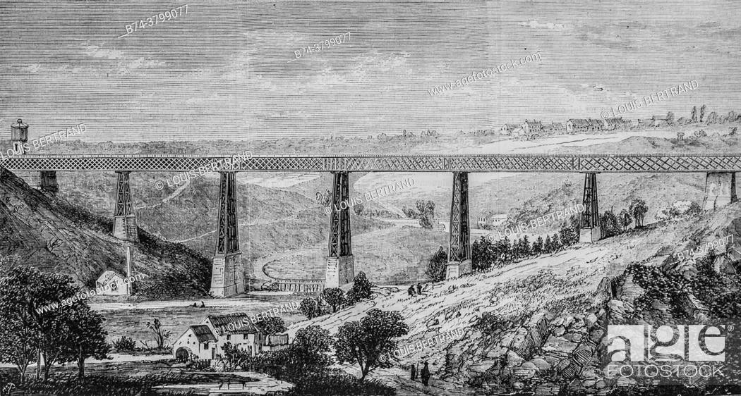Stock Photo: railway from montlucon to limoges, viaduct of the valley of the creuse, the illustrious universe, publisher michel levy 1868.