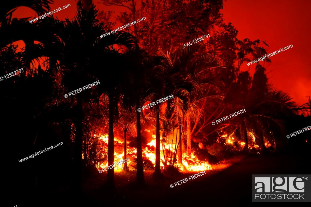 Stock Photo: May 2018 eruption, Leilani Estates subdivision, East Rift Zone Kilauea Volcano, Big Island of Hawaii; Pahoa, Island of Hawaii, Hawaii, United States of America.