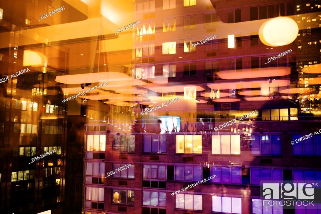 Stock Photo: Windows at night, NY, USA.
