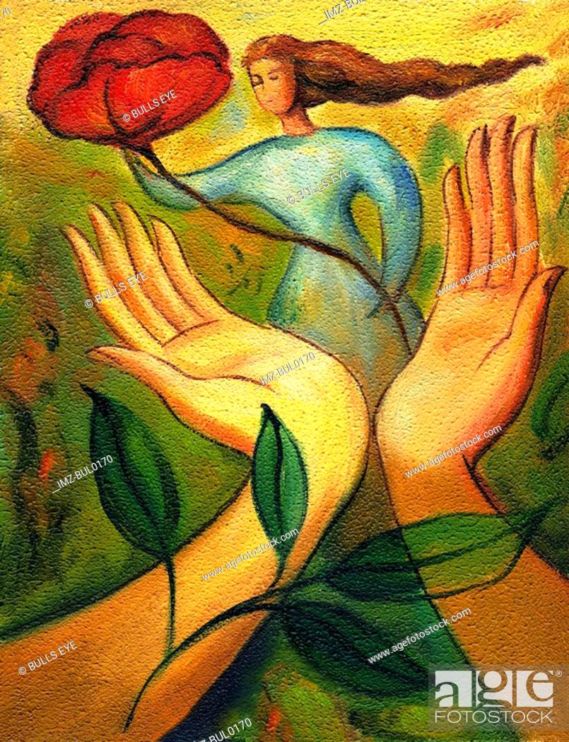 Stock Photo: An illustration of mother nature standing near a pair of hands that are holding a rose.