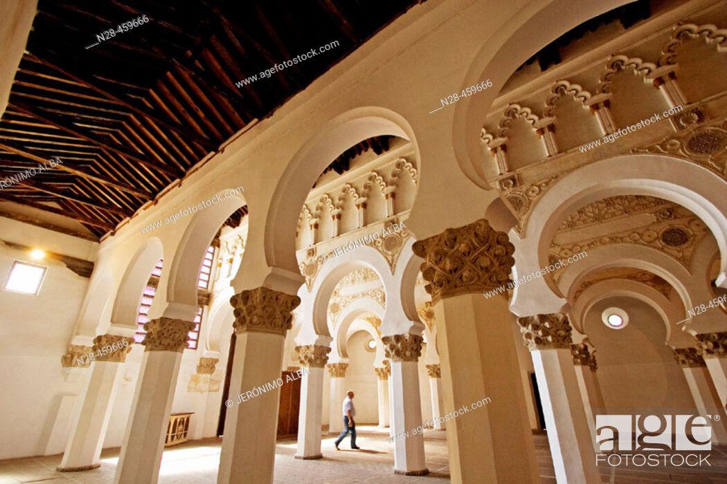 Stock Photo: Synagogue of Santa María la Blanca, mudejar style built 12th century. Toledo. Castilla-La Mancha, Spain.