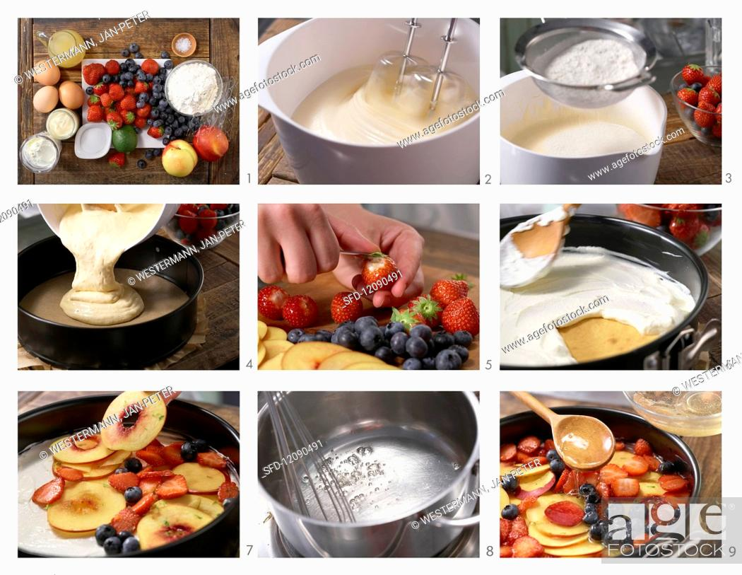 Stock Photo: Berry and nectarine cake with yoghurt cream and cake glaze being made.
