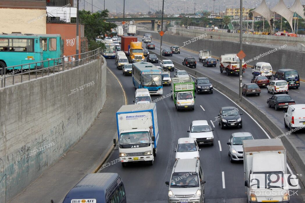 Stock Photo: Road around Lima, near Rimac, capital of Peru.