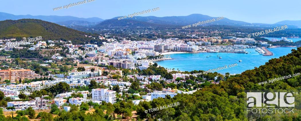 Stock Photo: Santa Eulalia Eularia des Riu skyline Ibiza at Balearic Islands.