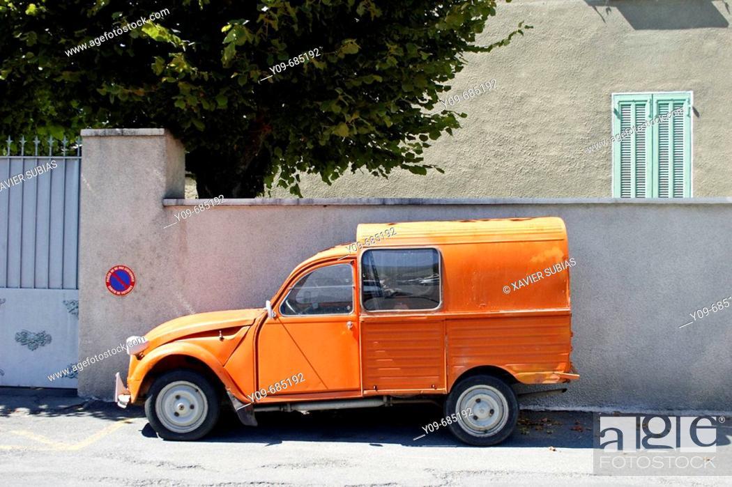 Stock Photo: Citroën 2CV, Embrun. Hautes-Alpes, France.