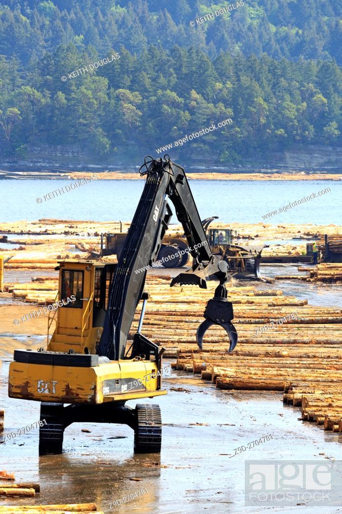 Stock Photo: Equipment sorting logs at sawmill, Ladysmith, Vancouver Island, British Columbia.