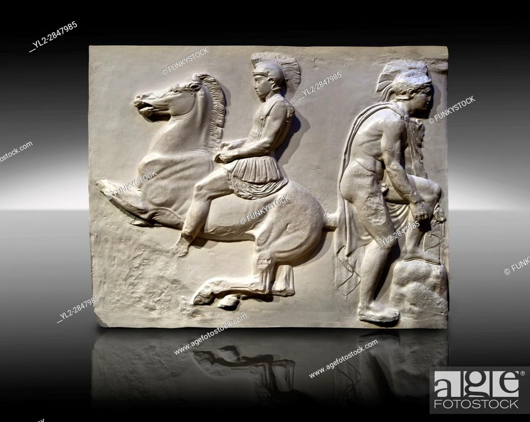 Stock Photo: Releif Sculptures from the frieze around the Parthenon Block VI. From the Parthenon of the Acropolis Athens. A British Museum Exhibit known as The Elgin Marbles.