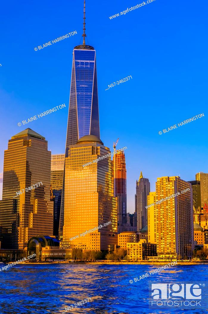 Stock Photo: One World Trade Center (with World Financial Center in foreground), New York, New York USA.