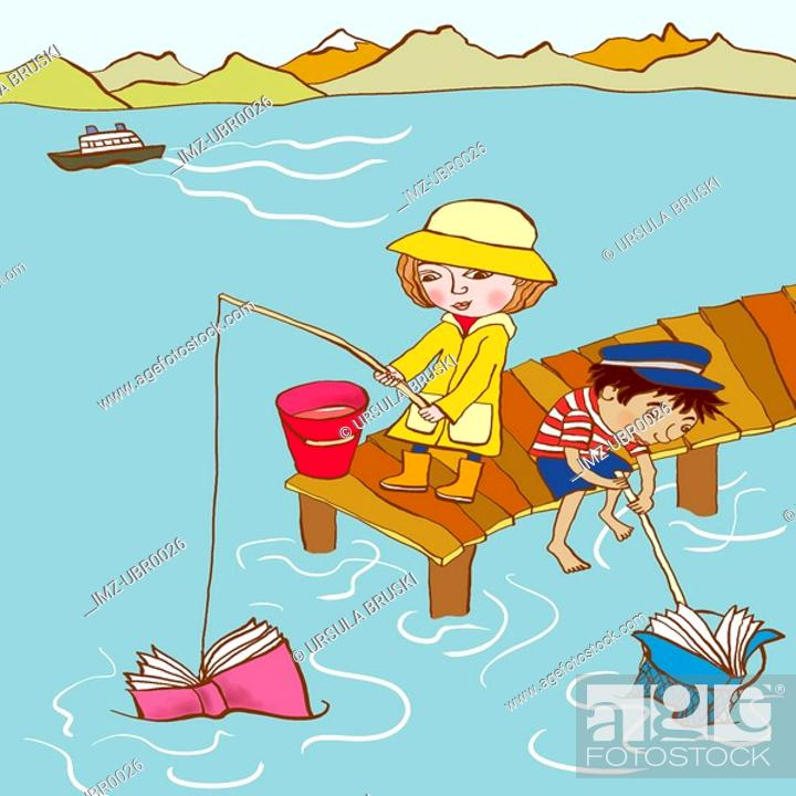 Stock Photo: Two small children catching books in the sea.