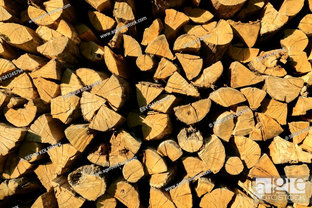 Imagen: Background of firewood texture after the sawing wood.