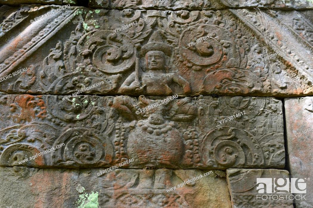 Stock Photo: Stone carvings on the lintel above a doorway at Prasat Kra Chap temple part of Koh Ker 127 NE of Siem Reap, Cambodia, South East Asia, Asia.