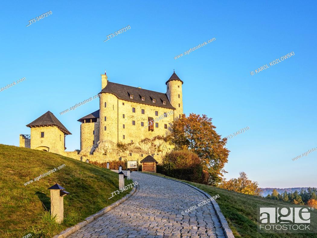 Stock Photo: Bobolice Royal Castle at sunrise, Trail of the Eagles' Nests, Krakow-Czestochowa Upland or Polish Jurassic Highland, Silesian Voivodeship, Poland.