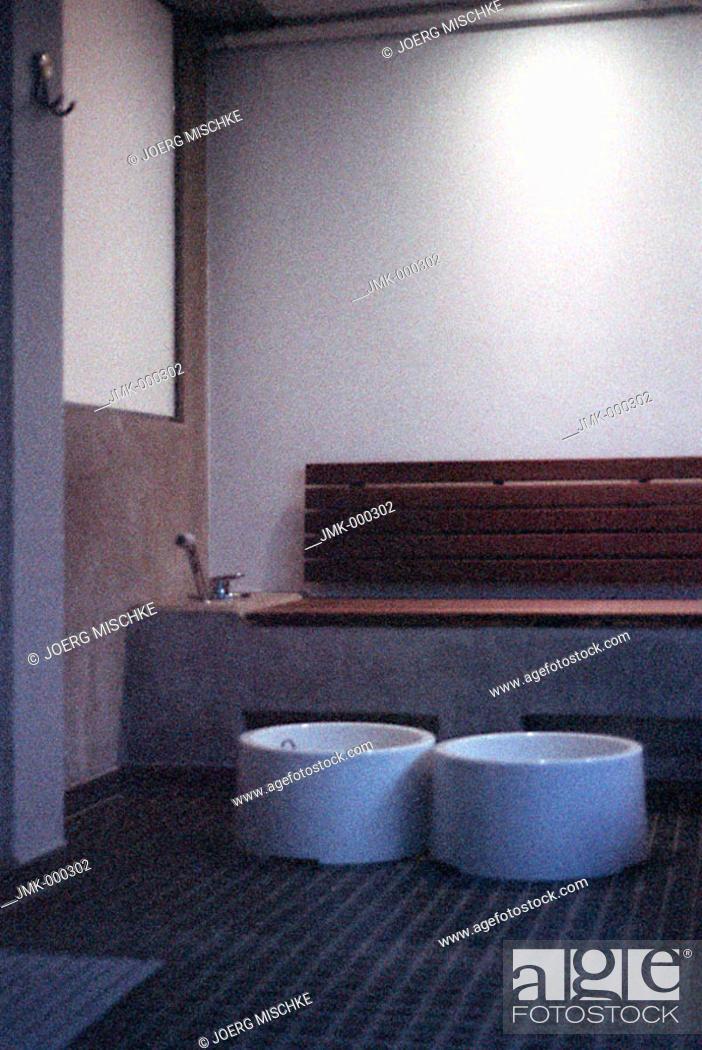 Stock Photo: Water tub, tubs, basin, basins, bowl, bowls in a sauna, spa for a footbath, bathing the feet.