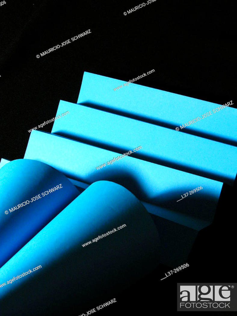 Stock Photo: Blue abstraction with lines, curves and shadows.