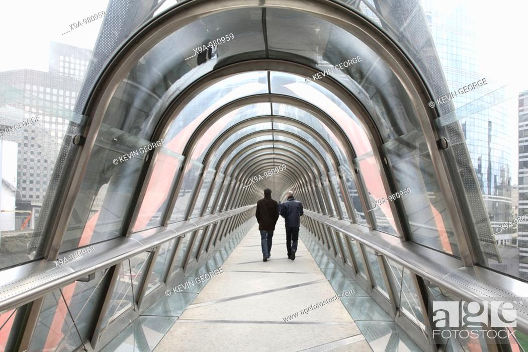 Stock Photo: Walkway in La Defense Business District, Paris, France.
