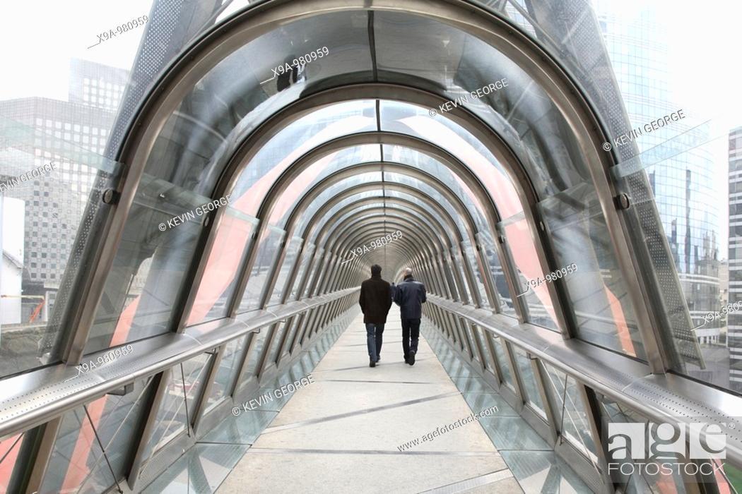 Stock Photo: Walkway in La Defense Business District, Paris, France.