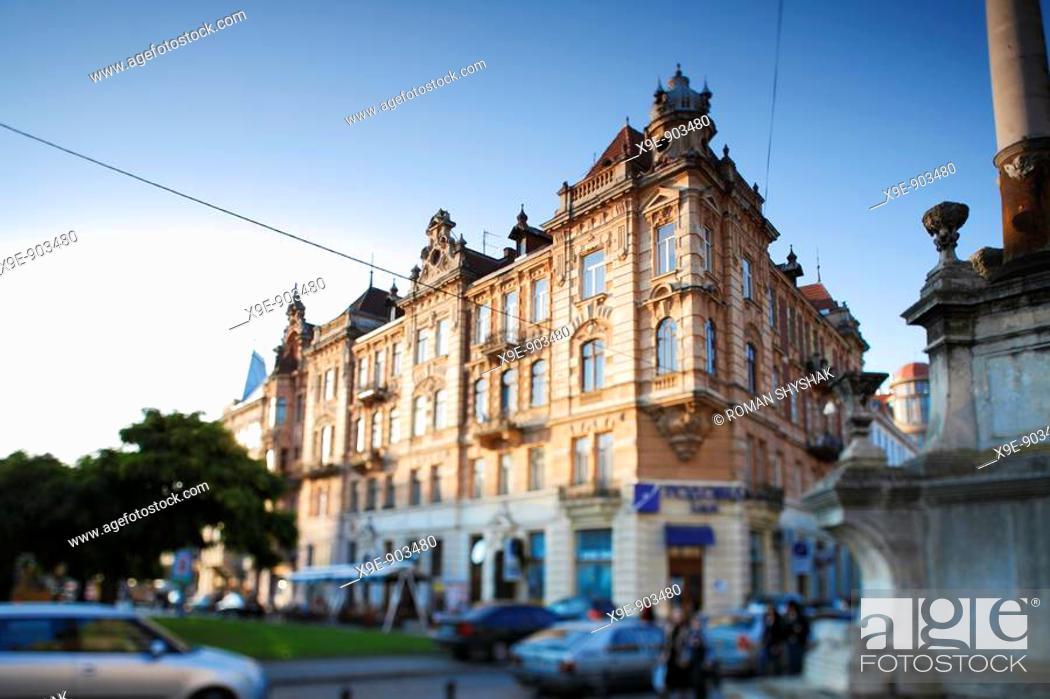 Stock Photo: Urban landscape  Bernardin square  Lviv  Ukraine.