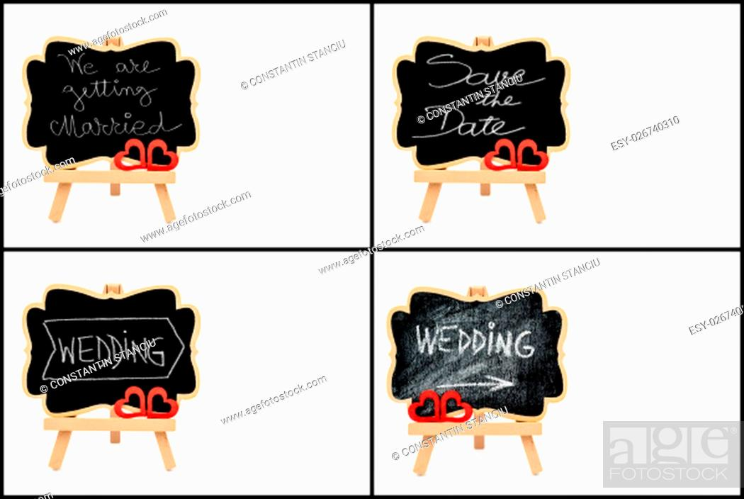 Stock Photo: Photo collage of wedding symbols, wooden easel mini blackboards with chalk surface with text WEDDING and SAVE THE DATE.