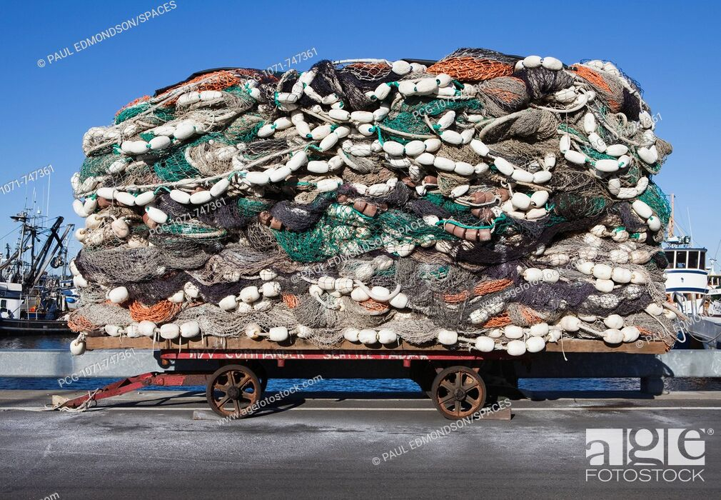 Stock Photo: Pile of Commercial Fishing Nets.