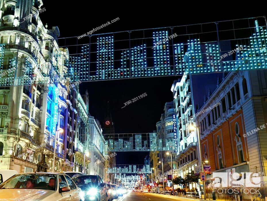 Stock Photo: Traffic at Gran via street with string lights at Christmas time. Madrid. Spain.
