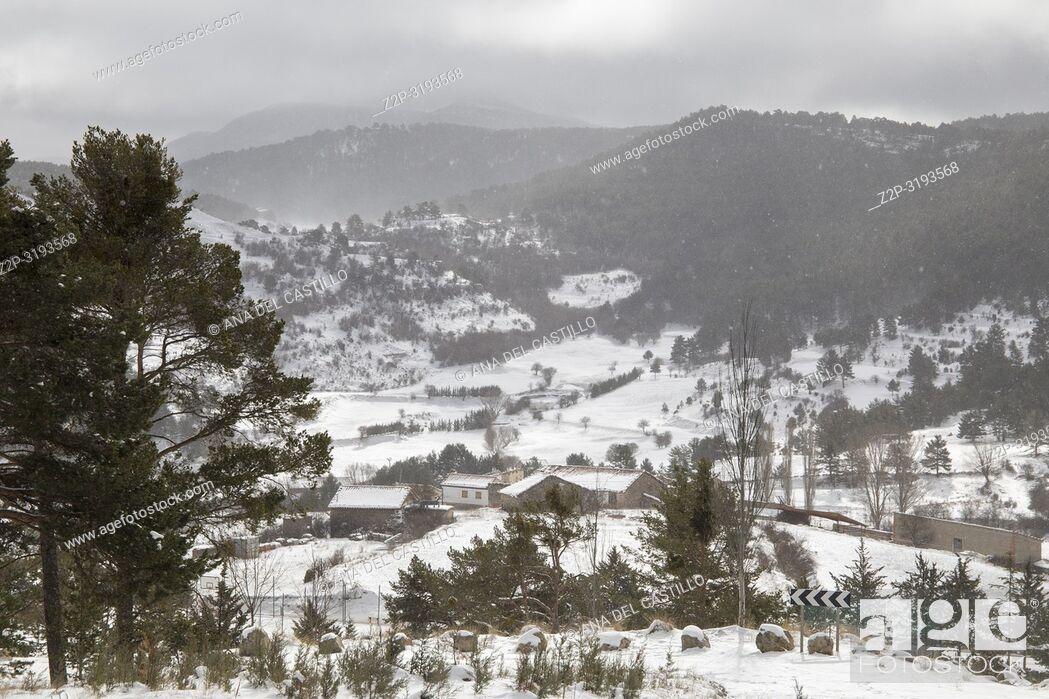 Stock Photo: Winter landscape Gudar mountains Teruel Aragon Spain.