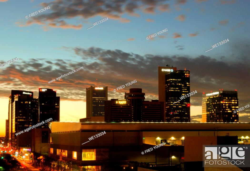 Stock Photo: Phoenix, AZ, USA - October 17, 2014: Downtown Phoenix, AZ skyline at dusk. Phoenix is the capital of arizona with a population of 1 1/2 million residents.
