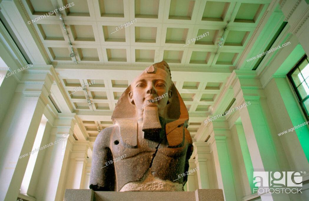 Stock Photo: Stone bust of the egyptian Pharaoh Ramses II. British Museum. London. UK.