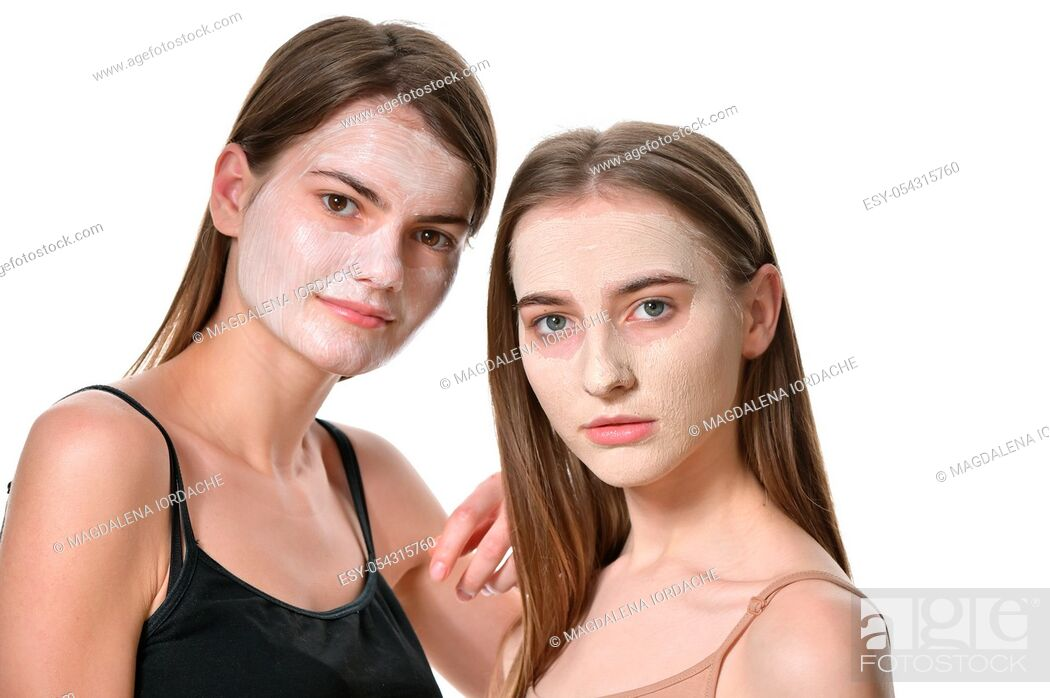 Stock Photo: Details of Young Women With Facial Mask.