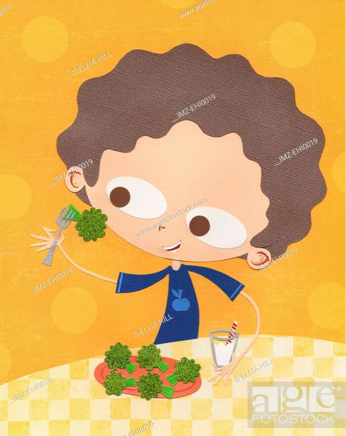 Stock Photo: A paper cut illustration of a boy eating broccoli and drinking milk.