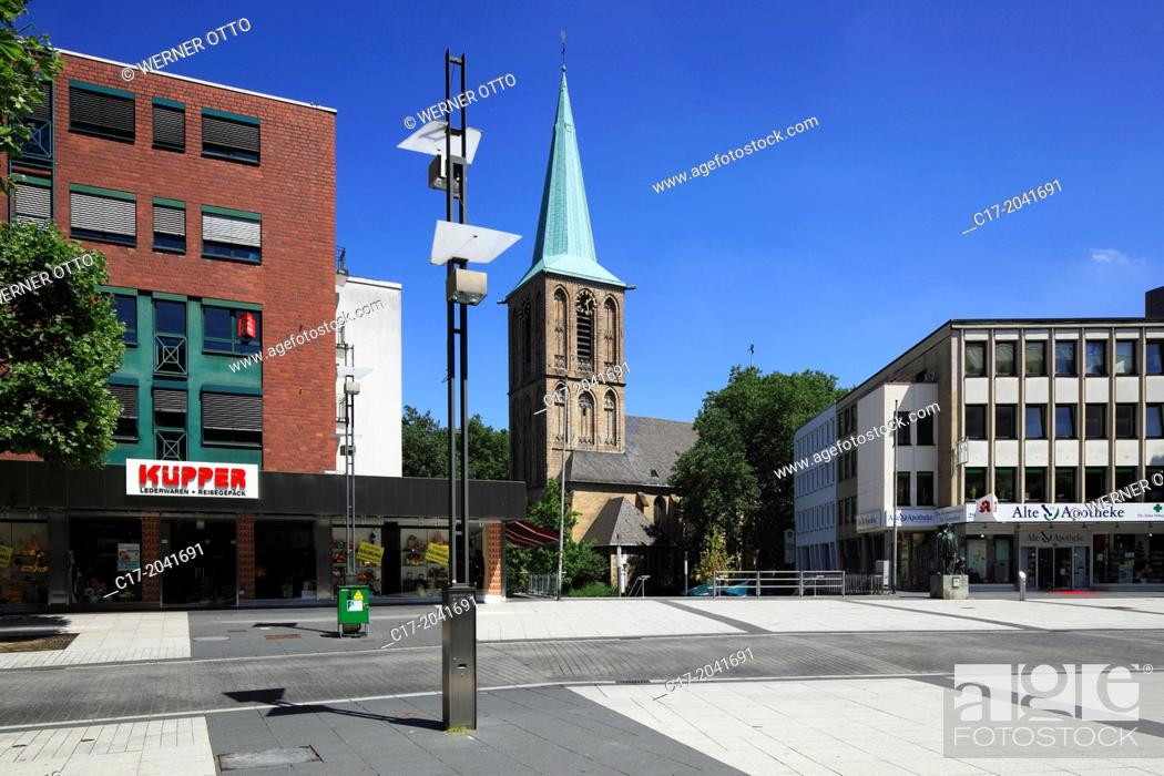 Stock Photo: Germany, Bochum, Ruhr area, Westphalia, North Rhine-Westphalia, NRW, priory church Saint Peter and Paul, catholic church, business premises.