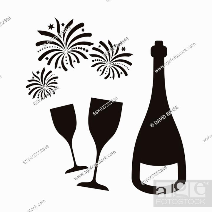 Stock Photo: Black vector new year firework and champagne isolated.