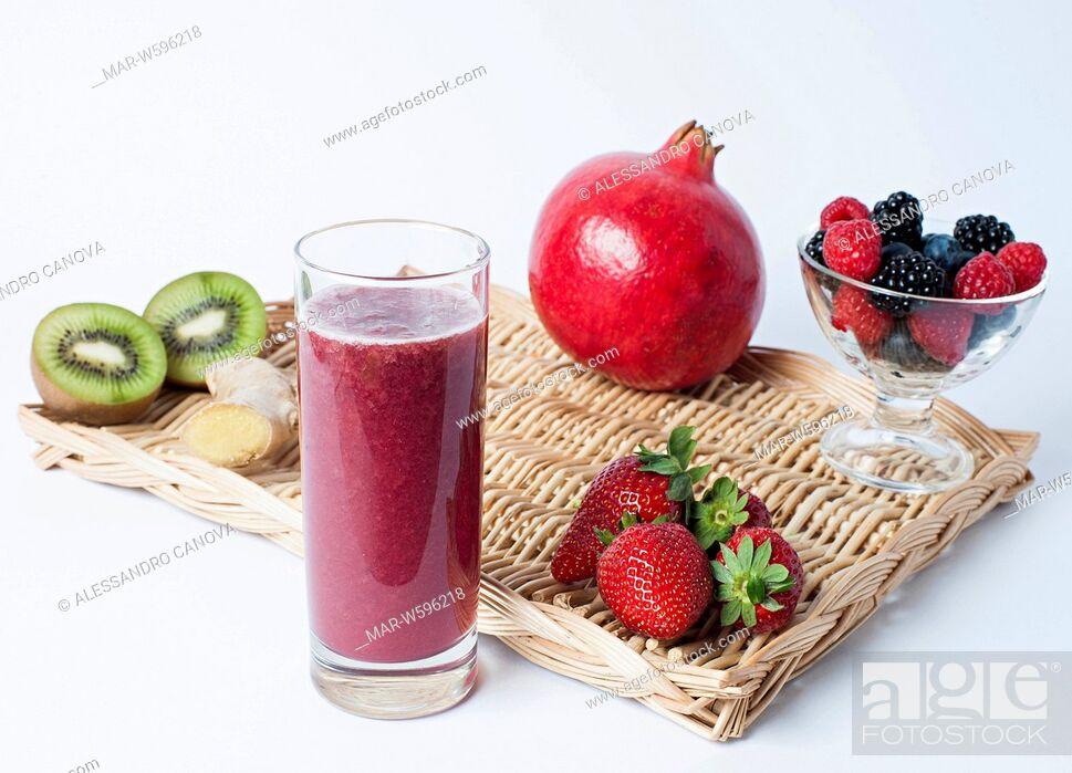 Stock Photo: fruits smoothie.
