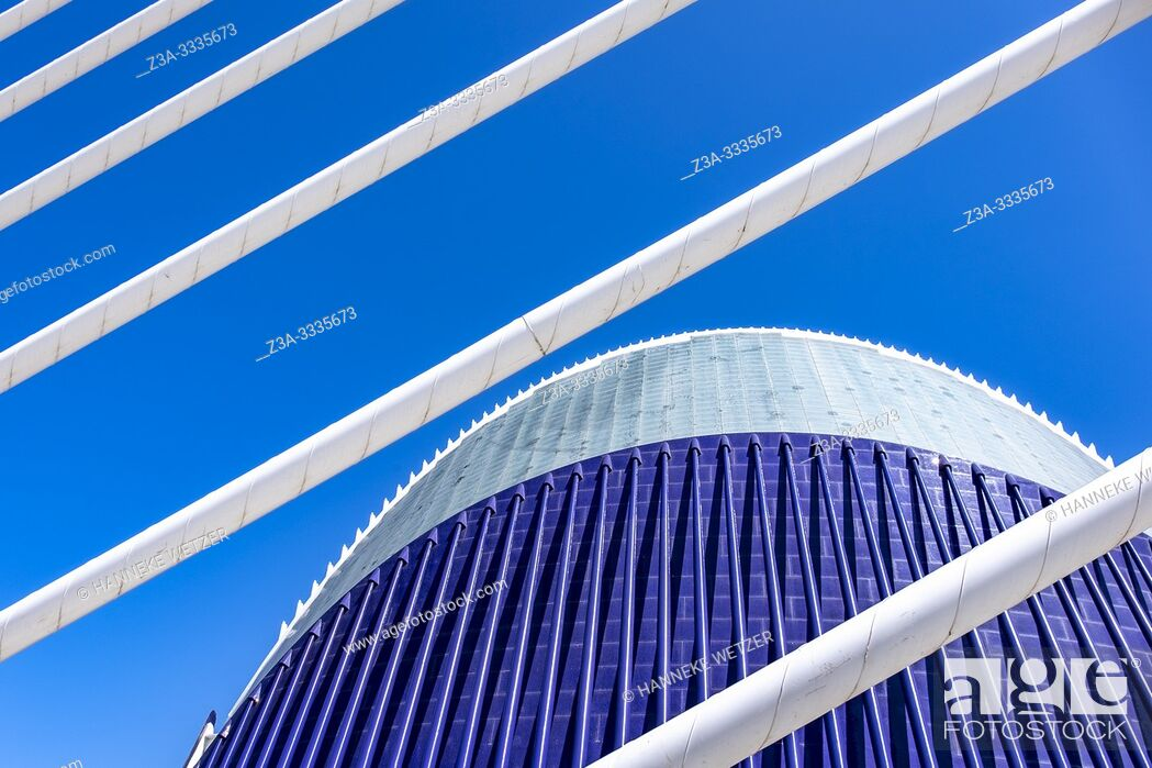 Stock Photo: Agora, seen through the Pont de l'assut, City of Arts and Science, Ciudad de las artes y las ciencias, in Valencia, Spain, Europe.
