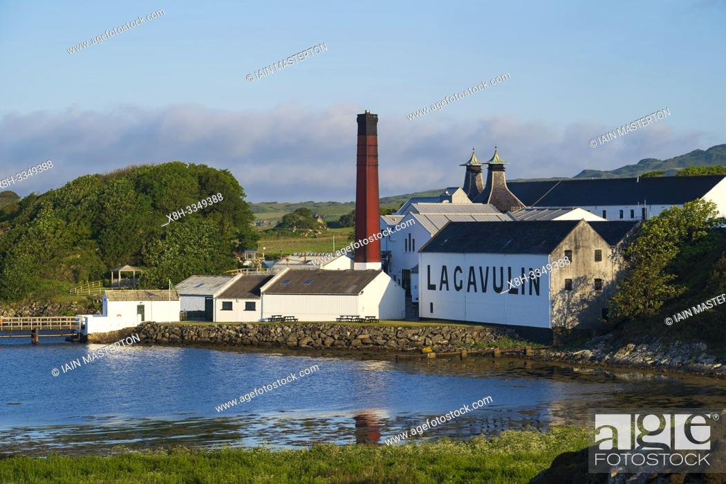 Stock Photo: View of Lagavulin Distillery on island of Islay in Inner Hebrides of Scotland, UK.