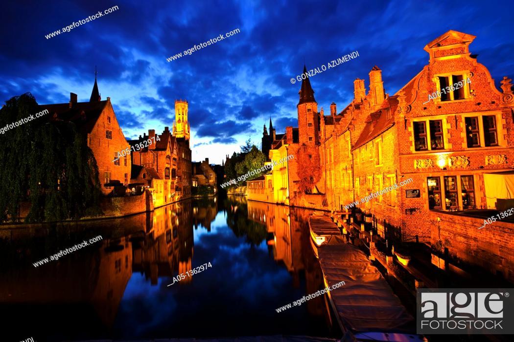 Stock Photo: Rozenhoedkaai Quay of the rosary with Belfort tower, Bruges, Brugge, Flanders,Belgium, UNESCO World Heritage Site.
