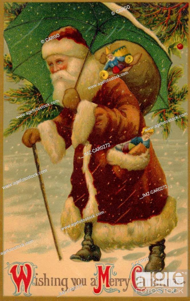 Stock Photo: Vintage Christmas postcard of Santa Claus walking in the snow with an umbrella over his head as he carries a sack of gifts.