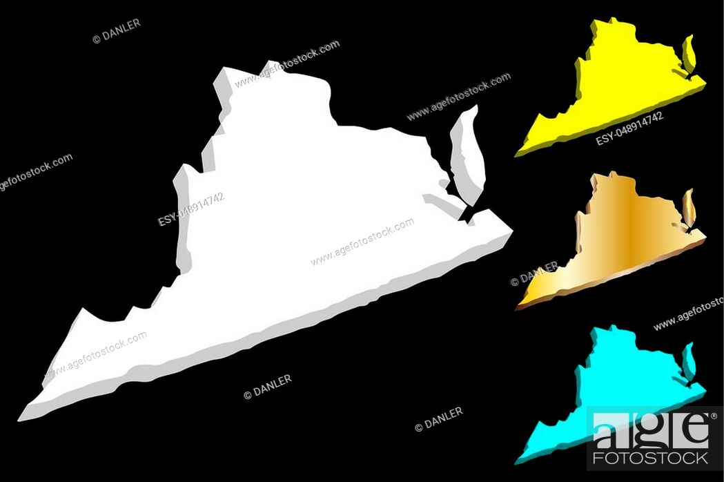 Stock Vector: 3D map of Virginia (United States of America, Commonwealth of Virginia) - white, yellow, blue and gold - vector illustration.