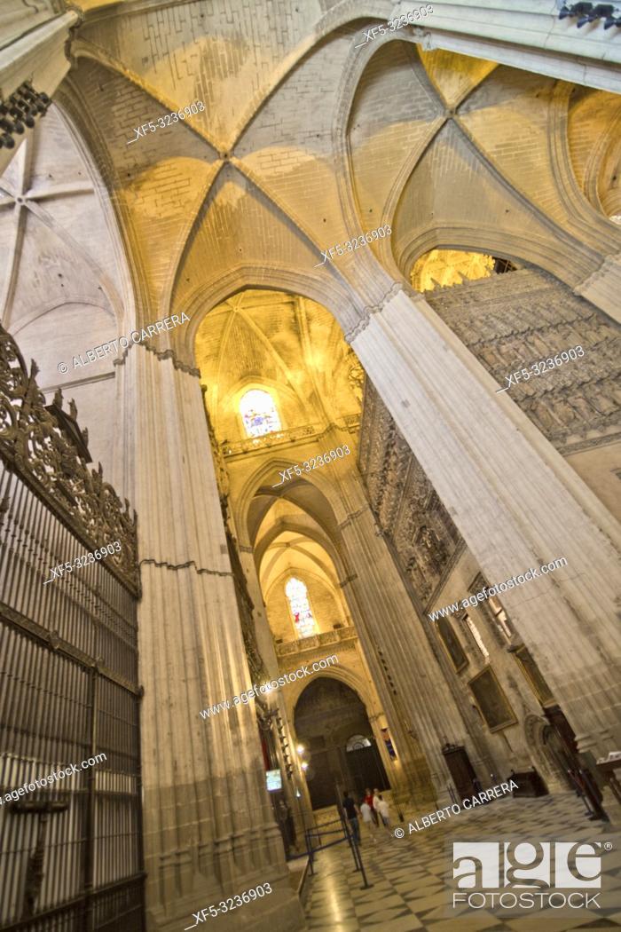 Stock Photo: Cathedral of Sevilla, Historical Center, Sevilla, Andalucía, Spain, Europe.
